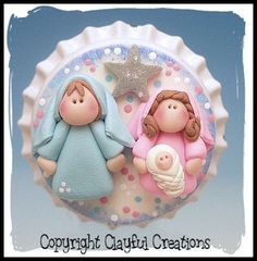 Becky's Polymer Clay Nativity BOTTLE CAP by clayfulcreations