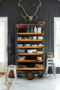 wheeled pottery board shelves - perfect for everyday kitchenware
