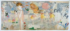 Henry Darger / Draw Drops on Water, side A, / n.d. / watercolor, mixed media, double-sided / 24 x 54 inches