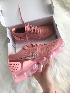 6f6fd9d9745 Womens Nike Vapormax Flyknit 2 Made with Swarovski Crystals - Rust Pink