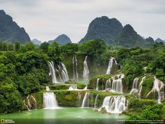 Ban Gioc Waterfall This is the most beautiful waterfall in Northern Vietnamese province of Cao Bang. It is located in the border of Vietnam and China. Photo  by Son Tong