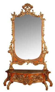 Chinese Chippendale-style mirror and console