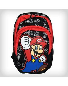 Nintendo Jumping Mario on Black Backpack
