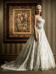 Sweetheart Strapless Lace Embroidery Floral Belt A-line Wedding Gown A$527.74
