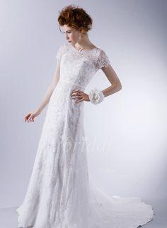Wedding Dresses - $206.16 - A-Line/Princess Scoop Neck Sweep Train Satin Lace Wedding Dress With Lace Appliques Lace (0025059714)