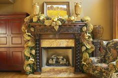Deco Mesh garland over the fireplace mantle.