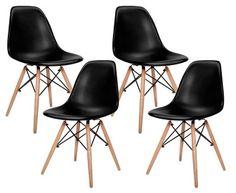 Eames Replica DSW Dowel Leg Chairs 4-Piece - Black