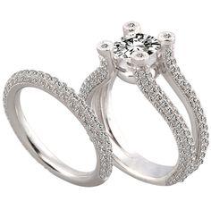 Split-Shank Pave Diamond Bridal Set