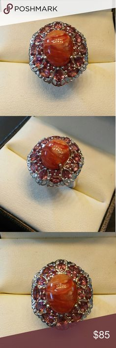 6.50ctw Genuine Caramel Opal &Garnet Platinum/925 Stunning Genuine 6.50 carats Genuine Caramel Opal and Garnet. Set in Platinum and 925 Sterling Silver. From my Grandmothers Estate. estate 925 Jewelry Rings
