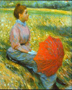 Lady in a Meadow - Federico Zandomeneghi