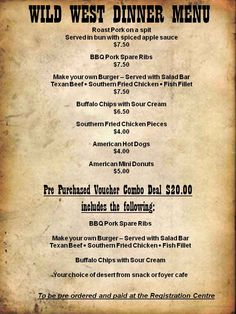 wild west saloon menu - Поиск в Google Make Your Own Burger, Spare Ribs, Salad Bar, Dinner Menu, Wild West, Fried Chicken, Texture, Google, Surface Finish
