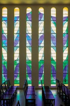 Stained glass windows designed by Henri Matisse. Matisse's Chapelle du Rosaire. Vence, France.