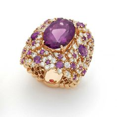 Peach gold ring with amethysts, diamonds and ruby by Roberto Coin