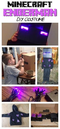 Does you Minecraft kid want to be the creepiest mob out there for Halloween? Then here's a great no sew costume you can make--the Enderman! We lit this costume up with purple twinkle lights and glow sticks to make it extra special! Minecraft Halloween Costume, Minecraft Costumes, Lego Costume, Minecraft Party, Boy Costumes, Halloween Kostüm, Holidays Halloween, Halloween Costumes For Kids, Costume Ideas