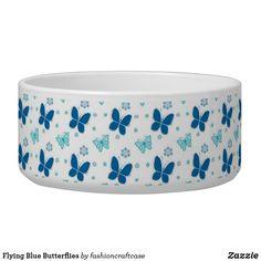 Hat Shop, Pet Bowls, Large Animals, Dog Bowtie, Blue Design, Blue Butterfly, Pet Gifts, Ceramic Bowls, White Ceramics