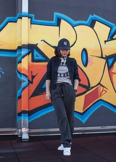 Daily Outfit - Bad Ass Paris tee, grey wide leg pants & white sneakers   Xssat Street Fashion