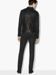 John Varvatos Leather Jacket With Chain Detail - Black 56 John Varvatos, Leather Pants, Leather Jackets, Detail, Chain, Fashion, Leather Jogger Pants, Moda, Fashion Styles