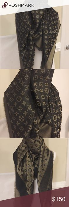 LV Reversible Shine Shawl Scarf, Black & Navy Blue Superior quality. The material is thick and warm. 56x56 inches. Pls choose one color of your choice. Black/Gold OR Navy/Gold. Louis Vuitton Accessories Scarves & Wraps