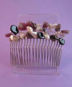 Pink, Black Tourmaline and White Pearl Hair Comb £24.00