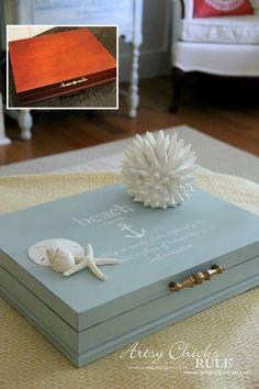 Robin's Egg Blue Beach Box Makeover (Budget Friendly Decor