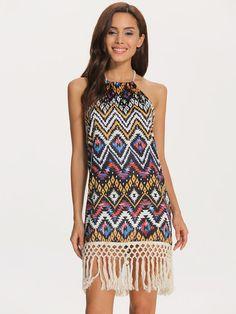 Vestido geométrico cuello halter flecos-Multicolor