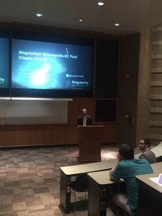 06/04/19 - Elements Group CinO David Williams speaking on regional development trends of innovation economies at the Singularity U Minneapolis-St.Paul Chapter Kickoff event at the UMN Carlson School of Business.