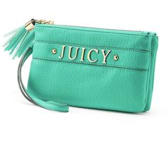 Juicy Couture Juicy Wristlet () ($39) ❤ liked on Polyvore featuring bags, handbags, clutches, green wristlet, genuine leather purse, zipper wristlet, green handbags and juicy couture wristlet