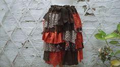 SALE Brown Orange Khaki Green Upcycled Skirt  Floral Mori Girl Ruffles Lagenlook Tribal Cotton Layers Bohemian