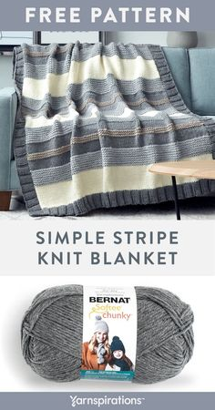 Free Knitting Pattern made with Bernat Softee Chunky yarn! This free Simple Stripe Knit Blanket Pattern is perfect for seasoned knitters or those new to the craft, this is a fun and easy project that has you working basic stitches and a fun to work border that is picked up along the side edges for a tidy finish. #yarnspirations #freeknittingpattern #bernatsoftychunky #knittedblanket #bernat Easy Blanket Knitting Patterns, Beginner Knitting Patterns, Easy Knitting Projects, Free Knitting, Baby Knitting, Knitting Stitches, Easy Knit Blanket, Blanket Fort, Knitting Ideas