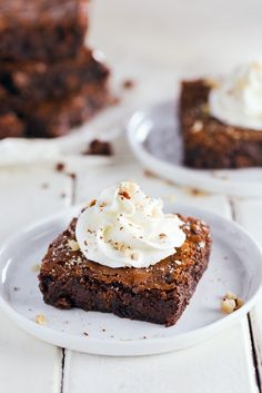 Classic Brownies with Sweet Hazelnut Whipped Cream