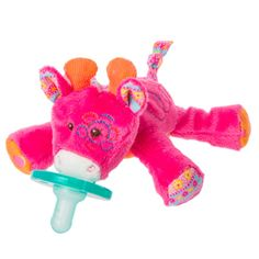 NEW THE BINKI BEAR PINK OR BLUE Infant Baby Soothie Pacifier HOLDER FREE SHIP