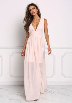 Blush Chiffon Plunge V Maxi Gown - Occasions - Dresses
