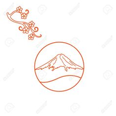 Illustration of Cute illustration of branch of cherry blossoms and mount Fuji. Set of Japan traditional design elements. vector art, clipart and stock vectors. Mountain Illustration, Nature Illustration, Cute Illustration, Volcano Pictures, Nature Logos, Japanese Background, Fuji Mountain, Japanese Logo, Mount Fuji