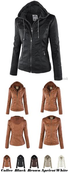 Leather Jacket Fashion Fall Winter Faux Leather Detachable Fake Two-piece Hood Zipper Jackets Coat Leather Clothing for big sale! #coat #Jacket #leather #women