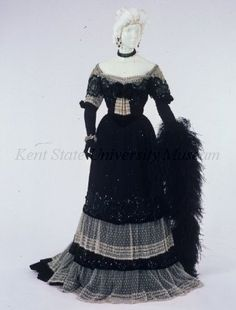 """Evening dress of black beaded and sequined net with white embroidered net. (This dress evokes Franz Lehar's light opera """"The Merry Widow. 1900s Fashion, Edwardian Fashion, Vintage Fashion, Edwardian Era, Historical Costume, Historical Clothing, Vintage Gowns, Vintage Outfits, Vintage Clothing"""
