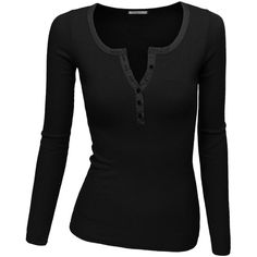 Doublju Women's Crew Henley Neck Long Sleeve T-Shirt ($8.99) ❤ liked on Polyvore featuring tops, shirts, long sleeves, long sleeve top, men shirts, crew shirt, crew top, longsleeve shirts and women tops