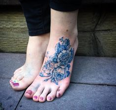 China pattern florals on foot by Annelise Kinney