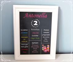 Mais um CHALKBOARD!!  Desta vez foi para a princesa Antonella! Parabéns pelos 2 aninhos!  #danielatruvilhanofestas #chalkboard #chalkboardart #chalk #quadrinhospersonalizados #quadrochalk