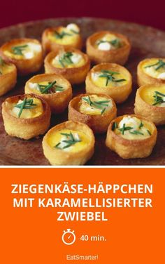 Brunch Recipes Goat& cheese snacks with caramelized onion - smarter - Time: 40 min. Meat Appetizers, Appetizers For Party, Appetizer Recipes, Snack Recipes, Party Canapes, Simple Appetizers, Pastas Recipes, Meat Recipes, Easy Snacks
