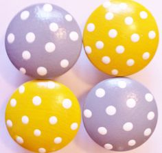 Gray and Yellow Polka Dot Drawer Knobs for your Dresser.
