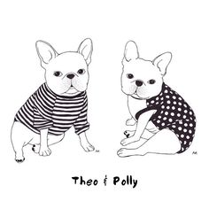 Theo & Polly in #pipolli <3 French Bulldogs, illustration