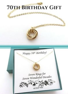 70th Birthday Gift for Women | Birthday Gift Ideas Handmade Jewelry by MarciaHDesigns | 14k Gold Filled Necklace