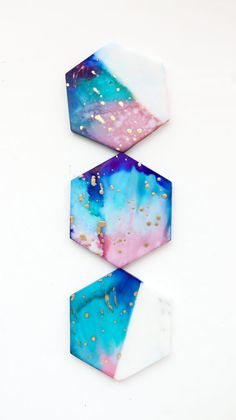Make It - Galaxy Color Blocked Marble Coasters - A Kailo Chic Life