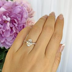 ctw Oval Accented Solitaire Bridal Ring, Oval Blake Engagement Ring, Man Made Diamond Simulants, Sterling Silver, Rose Gold Plated Man Made Diamonds, Diamond Simulant, 3 Carat, Bridal Rings, Solitaire Ring, Rose Gold Plates, Sterling Silver, Ring Settings, Private Jets