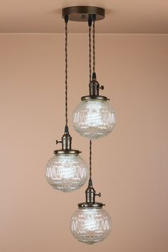 Replace the track lighting in the kitchen! 3 Light Cascading Chandelier  Pendant Lighting  by BlueMoonLights, $384.00