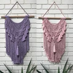 Two more custom orders ready for their new home... How gorgeous are these colors! Musk pink and Lavender from the amazing @marymakerstudio Three more custom orders to go before a well earned Christmas break... . . . #macrame #macramewallhanging #cotton #fibreart #knots #rope #decor #home #interiordesign #boho #bohochic #wallart #knotted #handmade #homevibes #modernmacrame #colors #design #natural #interiordecor #customdesign #musk #pink #lavender #pastels #childrensdecor
