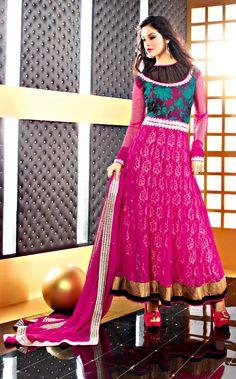 Pink Color Faux Chiffon Fabrics Anarkali Suit  ITEM CODE:- SLRC2107  PRICE;- 5015/- INR  SHOP THIS SUIT FROM HERE http://www.vivaahsurat.com/salwar-kameez/pink-color-faux-chiffon-fabrics-anarkali-suit-slrc2107
