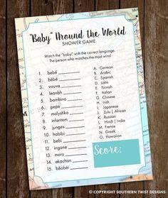 Baby Shower Game - Baby Around the World Shower Game - Adventures Await Shower Game - Baby Around th Baby Games, Baby Shower Games, Baby Shower Parties, Baby Boy Shower, Shower Party, Bridal Shower, Juegos Baby, Babyshower, Travel Baby Showers