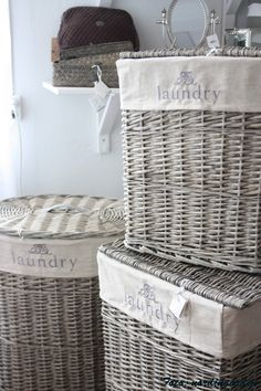 Wicker and cotton laundry baskets so that dirty clothes can air out. Have one in every bedroom