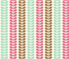 Vines Pink Blue Brown   fabric